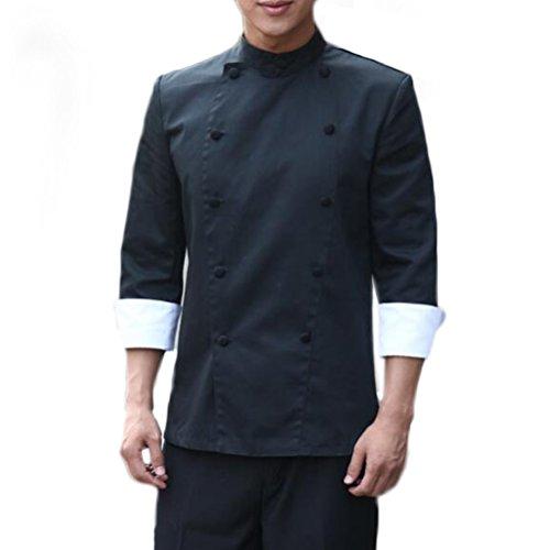 Nanxson(TM) Unisex Hotel Kitchen Uniform Arbeitsbekleidung Kurzarm Chef Jacke CFW1004 (XXL, Schwarz) (Frauen Uniform Chef)