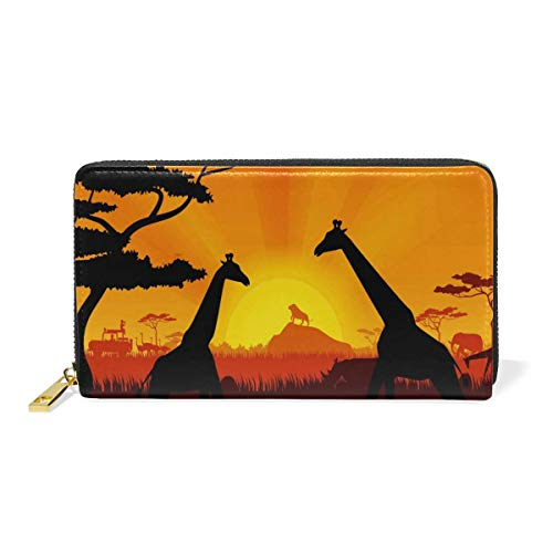 Agoyls Geldbörse Portemonnaie Sunrise Giraffe Luxury Genuine Leather Girl Zipper Wallets Clutch Coin Phone for Women -