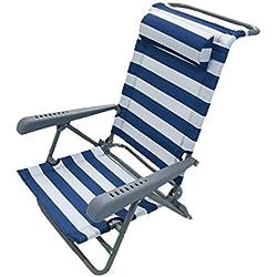 Homecall - Chaise de camping, Bleu/blanc