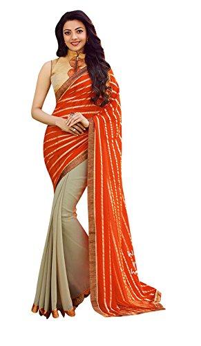 Shaily Retails Women's Kajal Agarwal Orange-Beige Color Georgette & Jacquard sarees (SMA-6612_Orange-Beige)