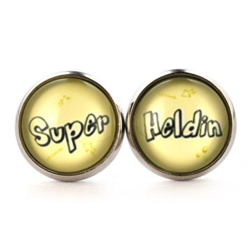 SCHMUCKZUCKER Damen Ohrstecker Spruch Super Heldin witzige Modeschmuck Ohrringe silber-farben 14mm ()
