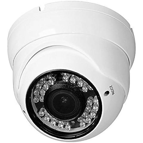 Tech RVD70W Cámara de Seguridad, Domo Analógica 800TVL, visión nocturna, lente varifocal de 2.8-12mm, camaras de vigilancia, para el exterior. Cámara de vigilancia. (Color Blanco