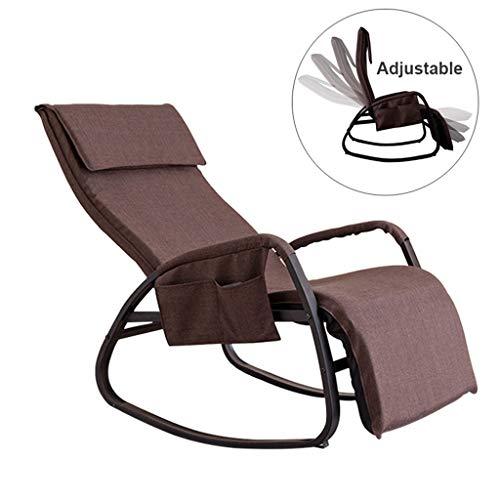 ZHEN GUO Relax Schaukelstuhl Lounge Chair mit Verstellbarer Fußstütze und Rückenlehne, Glider Rocker Lounger Recliner mit Seitentasche und Kissen, Liegestuhl mit abnehmbarem Kissenbezug, Braun -