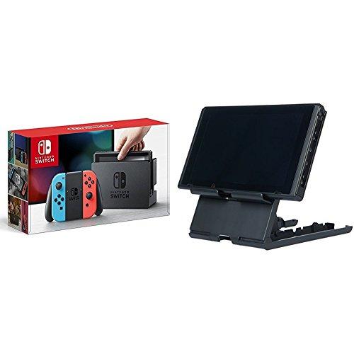 Nintendo Switch Konsole Neon-Rot/Neon-Blau + AmazonBasics - Ständer für die Nintendo Switch