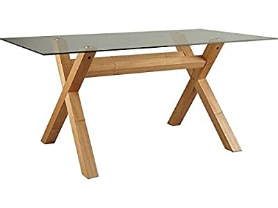 Oak Cross Leg Clear Glass Top Rectangle 4 or 6 Seater Dining Table Bevelled Edge - inexpensive UK light store.