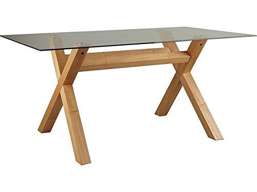 Tavoli Con Gambe Di Vetro : Tavolo da pranzo rettangolare con gambe a croce in rovere e