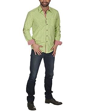 Oktoberfest Hemd Trachtenhemd Männer für die Wiesn und Karneval mit Kontrast Umschlag grün weiß