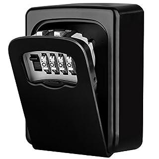 Diyife Key Lock Box, [New Version][Wall Mounted] Combination Key Safe Storage Lock Box for for Home Garage School Spare House Keys, Black