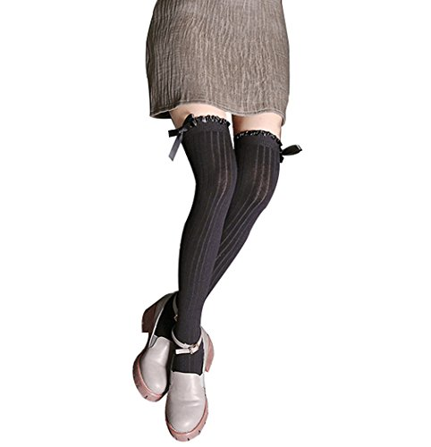 Women Leg Warm Thigh High Stockings All Cotton Over Knee Socks Pure Long Socks (Black) (Stretch-trim Fit-jeans)