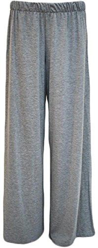Nouveau Femmes Plus Size évasé Palazzos large extensible Pantalon 40-58 Grey