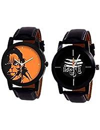 Shocknshop Analog Stylish MAHADEV & Hanuman Print Dial Combo Of 2 Watch For Men's & Boy's (W86B120)