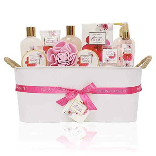 Geschenkkorb für Frauen, Body&Earth 11pcs SPA Badeset mit Kirschblüten Duft, Enthält Duschgel, Schaumbad, Body Lotion, Handseife, Körperbutter und Mehr, Beste Geschenkset für Frauen -