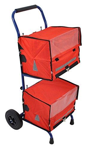 Zeitungswagen mit 2 roten Zeitungstaschen - Zeitungstaschen eignen sich für Zeitungswagen und Fahrrad ★ Zustellerbedarf für Zeitungszusteller