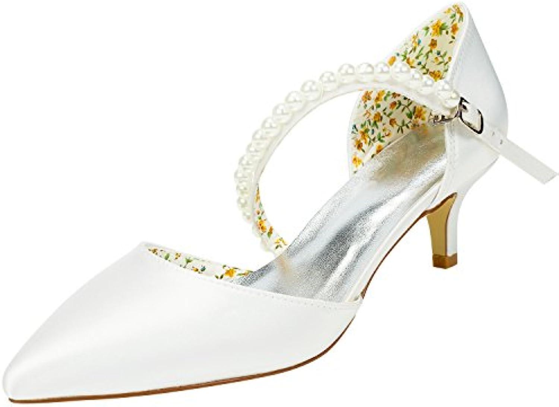 Emily Bridal Chaussures de Mariée de Champagne Chaton Talon Sweet Boucles Sweet Talon Pompes Femmes Sangle Bout Pointu Élégant...B07CBS1R1DParent 7f37f0