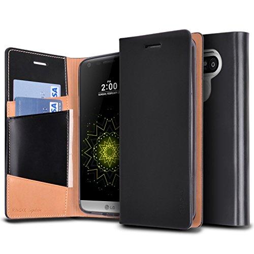 Ringke Funda LG G5, [Signature] Funda del Cuero Genuino [3 ID/Ranura de Tarjeta] Artesanal Prima Folio múltiples Monedero Viajes ejecutivos Funda para LG G5 2016 - Black