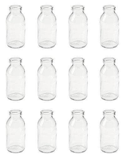 12 x Vasen Glasflaschen 10,5 cm Glasfläschen Landhaus Vintage kleine Milchflaschen Dekoflaschen