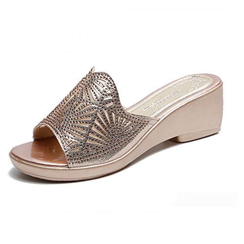 NVSRZTX Keilabsatz Hausschuhe Schuhe Slipper 5.0cm Shoes Strandschuhe Frauen Wedges Damenschuhe Schuh Freizeitschuhe Bequem Sommerschuh,Gold,41 (Unter Wedges Schuhe $25)