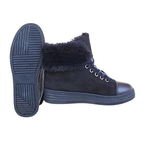Bottes femme Chaussures foncé Bleu Ital 8302 classiques Plat Bottines bottines et Design FFrv5dwq