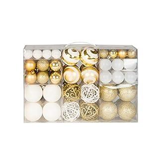 Lifestyle & More 100 Bolas navideñas 2 Colores Blanco y Dorado a Ø 6 cm con Ganchos a Juego