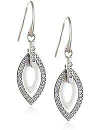 Stella Maris Damen Ohrringe - Blattform - 925 Sterling Silber und Premium Keramik in Weiss - Zirkoniasteine und Diamanten - 4 cm - STM15J034