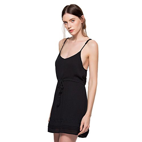 Fur Story 17B81 Femme Robe de soir¨¦e sexy spaghetti Noir
