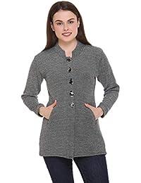 eCools Women Ladies Girls Winter Wear Round Neck Self Design Woolen Coat Sweater