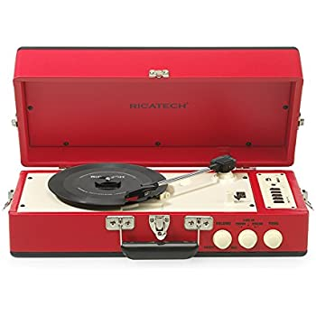 ricatech rtt80 tourne disque vintage rouge turntable lecteurs mp3 casques. Black Bedroom Furniture Sets. Home Design Ideas