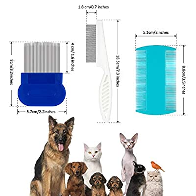 DaricowathX 6 Pieces Pet Grooming Combs Dog Lice Removal Comb Head Nit Combs for Removing Dandruff Flea Stain by DaricowathX