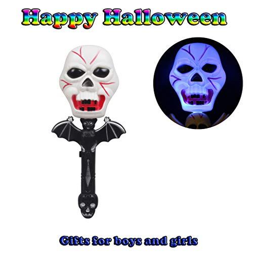 Lampe, Chshe TM, Halloween Cosplay KostüM Horror Spielzeug Magic SchäDel Zauberstab Lampe Mit Soundeffekt(Schwarz) ()
