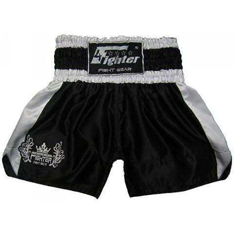 4Fighter Muay Thai Short Classic in nero-bianco con l'argento logo sulla gamba, Taille:XXXL - Muay Thai Kickbox Shorts