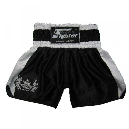 4Fighter Muay Thai Shorts Classic black Tribal Logo on leg