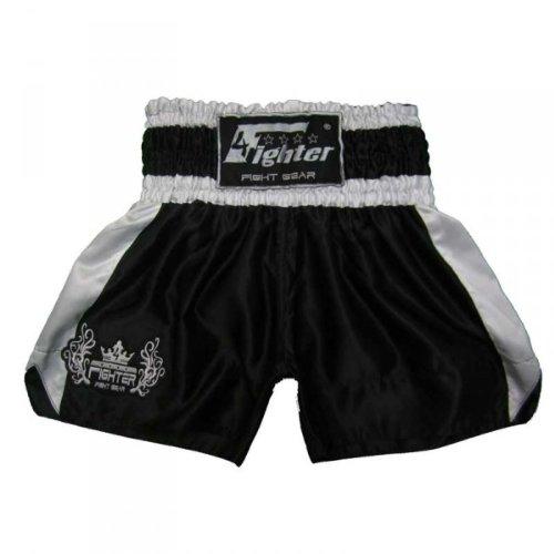 4Fighter Muay Thai Short Classic in nero-bianco con l'argento logo sulla gamba, Taille:L - Muay Thai Kickbox Shorts