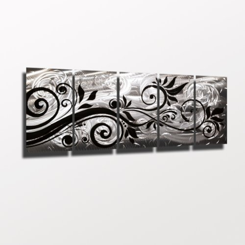 whispering-wind-nero-e-argento-moderno-astratto-dipinto-scultura-da-parete-in-metallo-art-work-home-