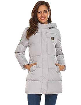 Zeagoo Mujer Abrigo Acolchado Impermeable Invierno Apliques Ultra-caliente Chaqueta con Capucha