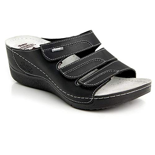 Batz Olga Sandalias Zuecos Zapatillas Zapatos de Cuero Mujer, Negro, EU 39