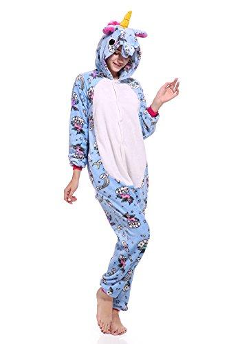 Mystery&Melody Süßes Einhorn Overalls Jumpsuits Pyjama Fleece Nachtwäsche Schlaflosigkeit Halloween Weihnachten Karneval Party Cosplay Kostüme für Unisex Kinder und Erwachsene (S, Blue-Pegasus) (Pegasus Halloween Kostüm)