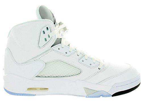Nike Air Jordan 5 Retro, Chaussures de Sport Homme Blanc / Noir / Argenté  (White / Black-Metallic Silver)