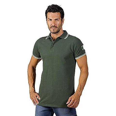 Logique summer7Polo Coton Vert bords Blanc col V boutons tricot