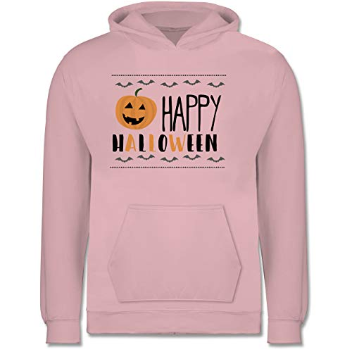 Shirtracer Sprüche Kind - Happy Halloween Kürbis - 9-11 Jahre (140) - Hellrosa - JH001K - Kinder Hoodie (Zu Halloween Pet-kostüm-ideen)