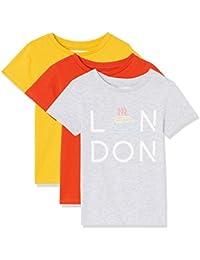 RED WAGON T-Shirt con Stampa 'London' Bambina, Pacco da 3