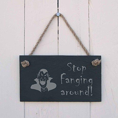 Monsety Holz Home Schild Halloween Stop fanging um Eine Fun Geschenk für die Gruselige Party Kabine Decor zum Aufhängen Tür Schild Geschenk