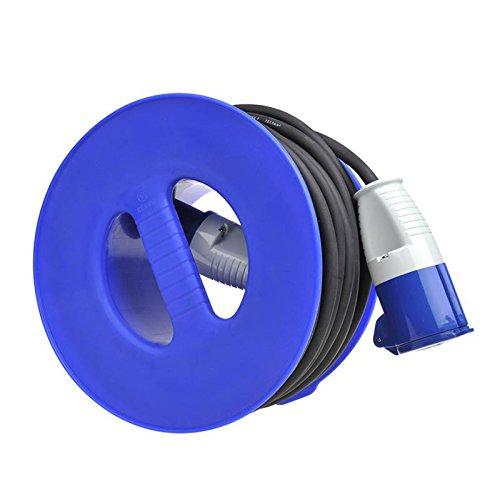 Preisvergleich Produktbild Camping Hand Kabeltrommel Blau für CEE Verlängerungskabel max 30 Meter (1,5 mm²)