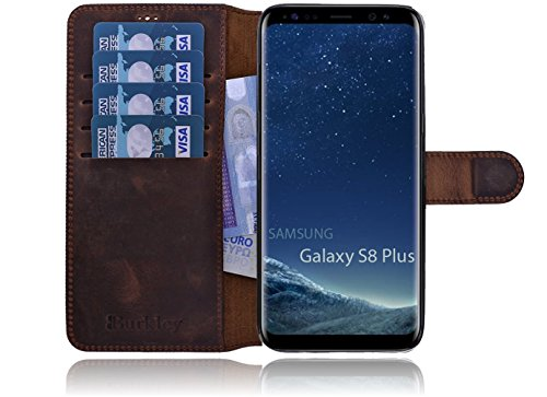 Burkley Samsung Galaxy S8 Plus (G955) Hülle Premium Handyhülle | Ledertasche | Handytasche | Schutzhülle | Book Cover | Case | Etui mit bruchfester Innenschale und Standfunktion (Kaffee Braun)
