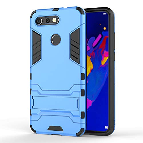 Huawei Honor View 20/V20 Hülle, MHHQ Hybrid 2in1 TPU+PC Schutzhülle Rugged Armor Case Cover Dual Layer Bumper Backcover mit Ständer für Huawei Honor View 20/V20 -Light Blue Dual-view-case
