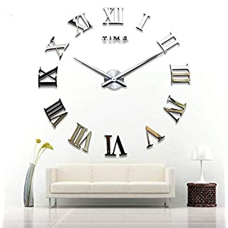Alicemall Time Letters Roman Numerals DIY 3D Mirror Surface Wall Clock