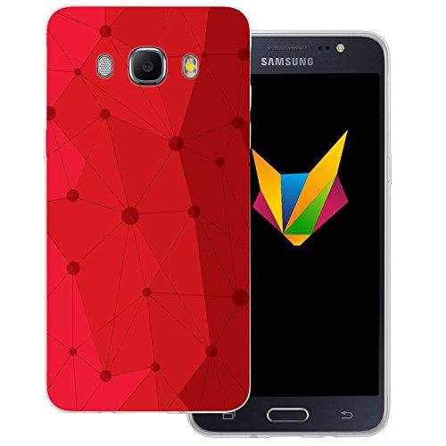 Mobilefox Grafik transparente Silikon TPU Schutzhülle 0,7mm dünne Handy Soft Case für Samsung Galaxy J5 (2016) Grafik Atomium Rot - Cover Gel Hülle