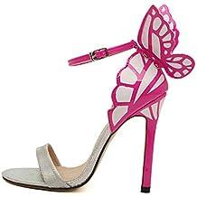 Bowtie Stiletto talón–SODIAL (R) Mujeres de personalidad boda Tacones mujer colorida mariposa Punta Toe sandalias de San Valentín lazo Fiesta Novia bombas zapatos Plata 40