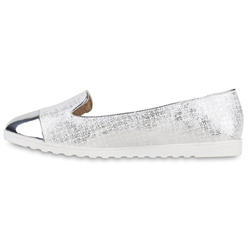 Damen Slipper Loafers Lack Metallic Schuhe Flats Profilsohle Weiß