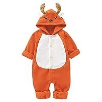 Borlai Newborn Hooded Romper Cute Christmas Jumpsuit Warm Flannel Outfits 0-18M, Elk Orange