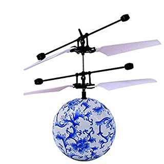 Rc Flying Ball, ADE SHOP Crystal Flashing LED Light Flying ball Hand Suspension Helicopter Aircraft Infrared Sensing Induction Flying Ball for Children Adult (I)